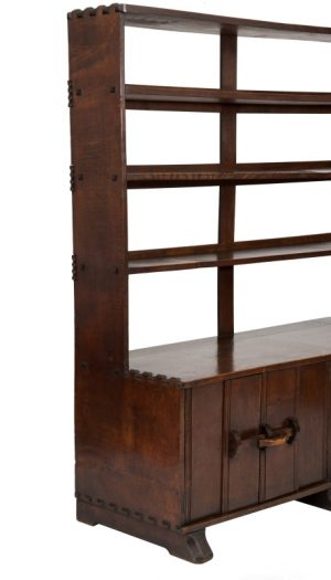 An oak bookcase with cupboards-1699