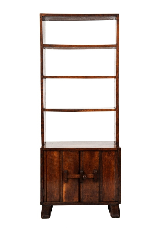 A narrow oak bookcase with cupboards-0