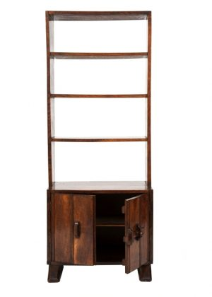 A narrow oak bookcase with cupboards-1702