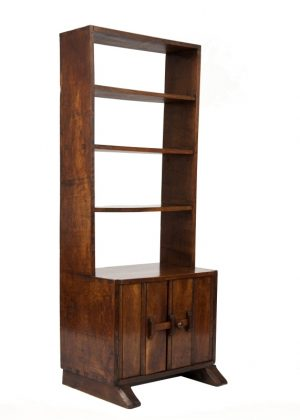 A narrow oak bookcase with cupboards-1701