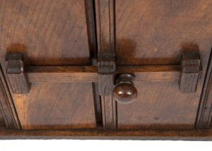 A narrow oak bookcase with cupboards-1706