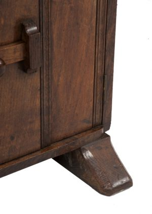 A narrow oak bookcase with cupboards-1708