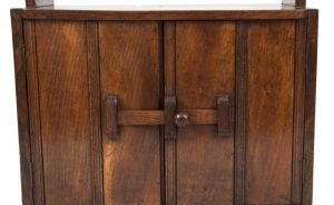 A narrow oak bookcase with cupboards-1711