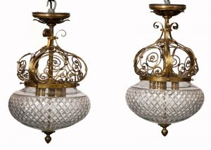 A rare pair of brass and glass light fittings-0