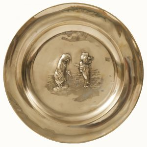 A set of five Alice In Wonderland brass chargers -1762