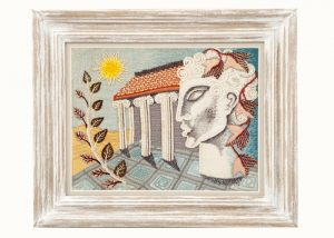 A framed Modernist embroidery -0