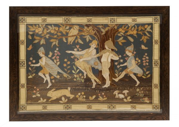 A large Arts and Crafts embroidered and appliqued panel-0