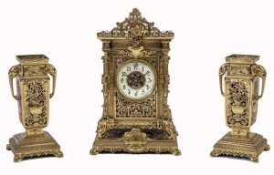 A brass clock garniture by Herbert Mason & Co-0