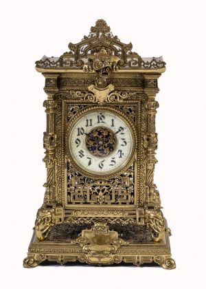 A brass clock garniture by Herbert Mason & Co-1844