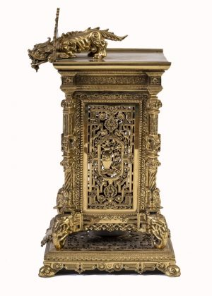 A brass clock garniture by Herbert Mason & Co-1846