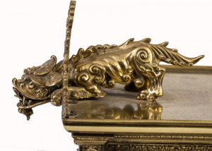 A brass clock garniture by Herbert Mason & Co-1845