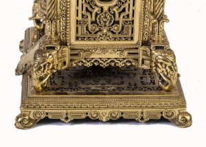 A brass clock garniture by Herbert Mason & Co-1849