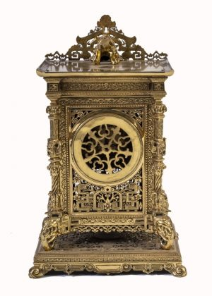 A brass clock garniture by Herbert Mason & Co-1850