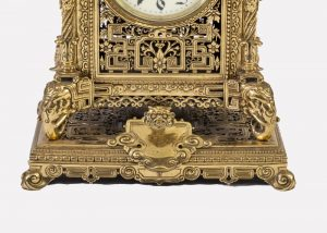 A brass clock garniture by Herbert Mason & Co-1855