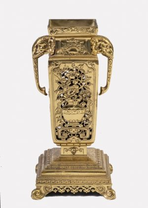 A brass clock garniture by Herbert Mason & Co-1859