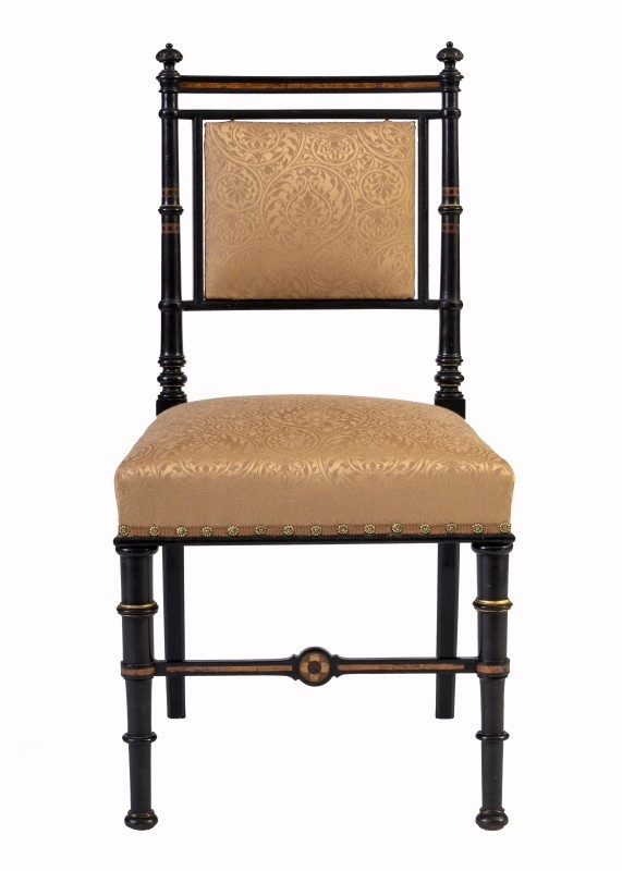 An inlaid side chair by Charles Bevan for Marsh & Jones.