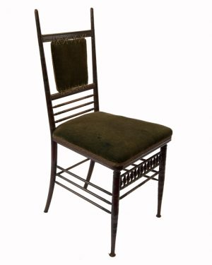 A chair by H.W.Batley for Collinson & Lock, with original velvet upholstery and trim. Illustration from 1876 Philadelphia Exhibition, Collinson & Lock stand.