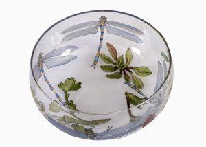 An enamelled glass bowl