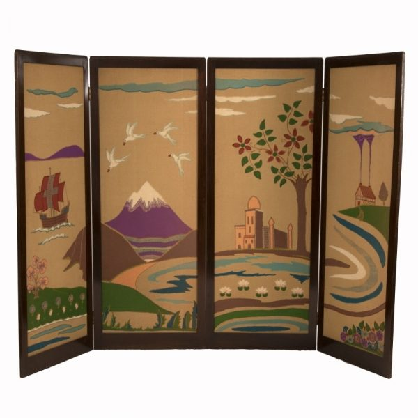 A Scottish Arts and Crafts applique work four fold screen.