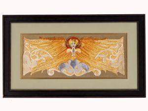 A rare framed Symbolist embroidery.