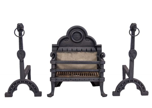 A Gothic Revival fire basket and associated fire dogs.