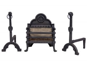 A Gothic Revival fire basket and fire dogs