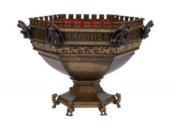 A Gothic Revival font in the style of William Burges / Viollet Le Duc.