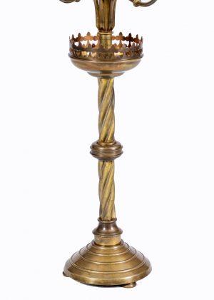 Gothic Revival brass candelabrum