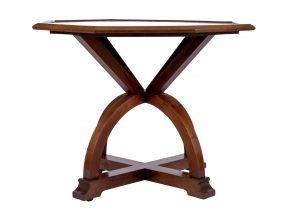 An unusual walnut Gothic Revival / Arts and Crafts table by Liberty & Co.
