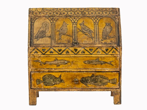 A painted coffer, the form based on that of a medieval reliquary.