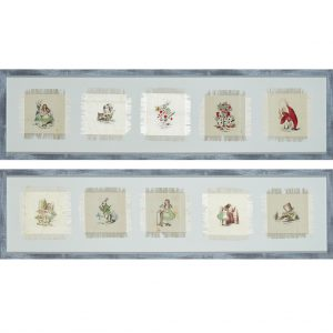 A pair of framed 'Alice in Wonderland' hand coloured silk panels.