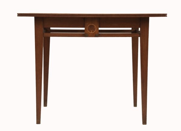 An Art Nouveau inlaid oak centre table from Paul reeves London