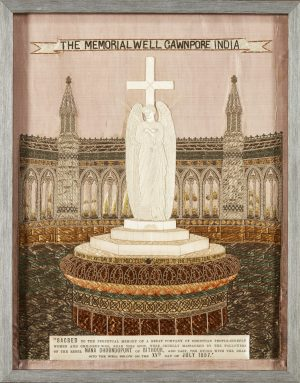 A framed Cawnpore  memorial well embroidery.