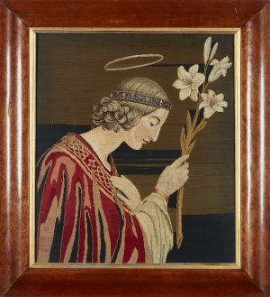 A framed English school Berlin woolwork panel, the design depicting St. Clair of Assisi.