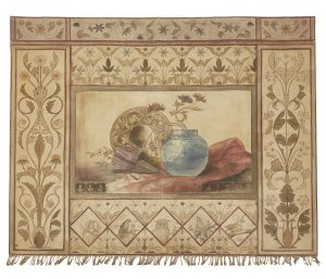 An unusual Aesthetic Movement hand painted fabric panel.