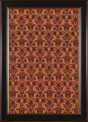 A framed Aesthetic Movement woven fabric panel. Attributed to Dr Christopher Dresser for J. C. & Ward, Halifax.