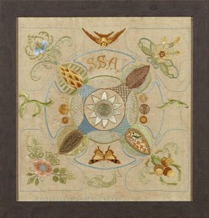 A framed Arts & Crafts silkwork embroidered panel, with embroidered initials S.S.A.