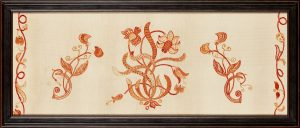 An Arts & Crafts framed crewelwork panel, originally forming part of a set of bed hangings.