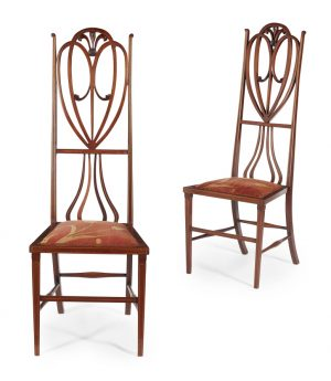 English Art Nouveau walnut side chairs