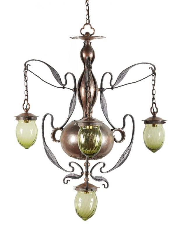 A Glasgow School Arts and Crafts copper and wrought iron chandelier.