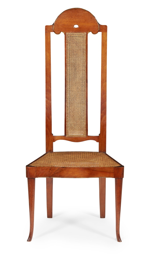 A walnut ' Phillippines' side chair with gilt details.