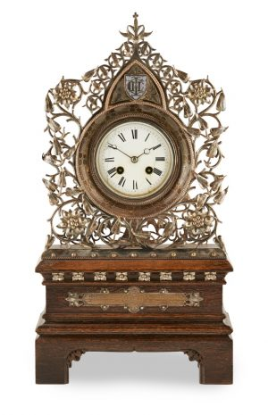 Gothic Revival Silver Plate Mantel Clock