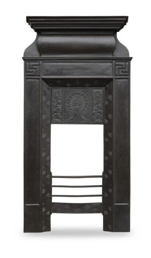 A pair of Aesthetic Movement cast iron fire surrounds.