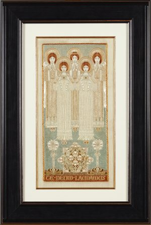 A framed Arts & Crafts embroidered silkwork panel. Worked in coloured silks with five ascending angels and an inscription TEDEUM LAUDAMUS.