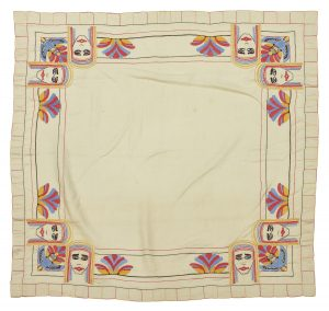 An Egyptian Revival embroidered linen table cloth.