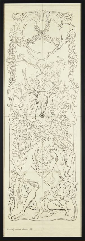 A framed design for a Hunting panel, pen and ink, inscribed lower left DESIGN FOR PICTURES & PANELS/ ES. Literature: Morris, Barbara J. 'Victorian Embroidery: An Authoritative Guide', Dover Publications, 2003, p. 206 Provenance: The Ladies' Work Society Archive.