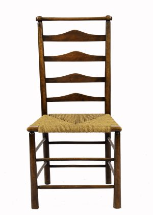 A rush seated oak side chair from Paul Reeves London
