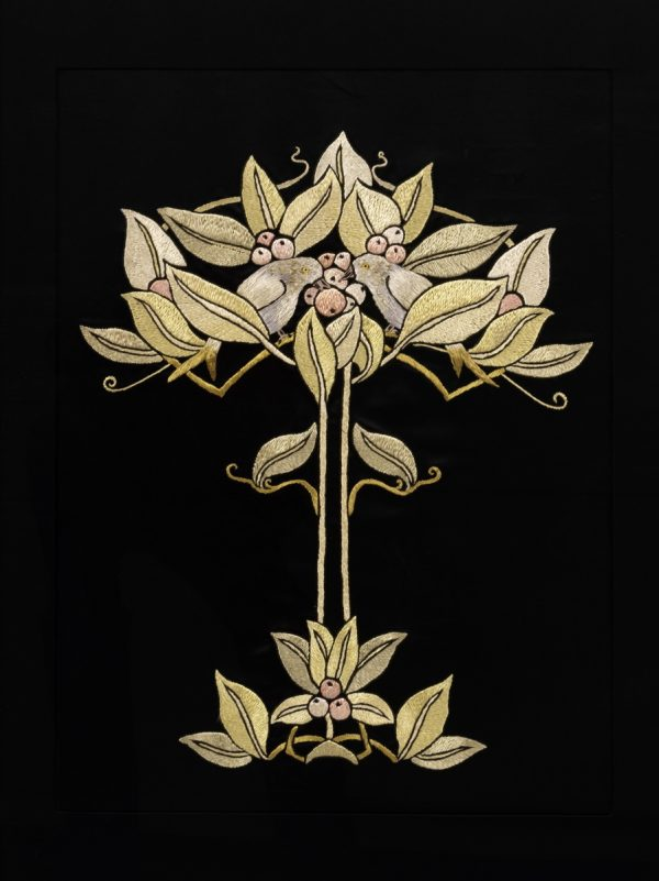 An Arts and Crafts framed silk embroidery from Paul Reeves London