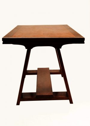 A walnut and fruit wood refectory table