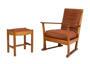 An oak chair and stool